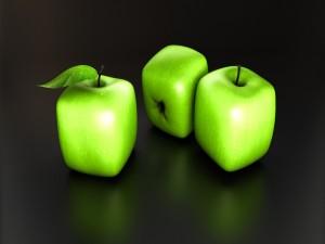 Postal: Manzanas verdes con forma de cubo (3D)