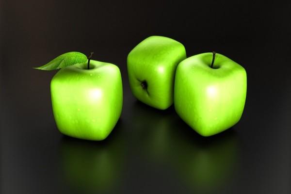 Manzanas verdes con forma de cubo (3D)