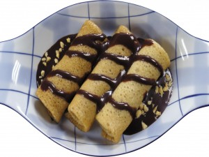 Crepes bañados en chocolate