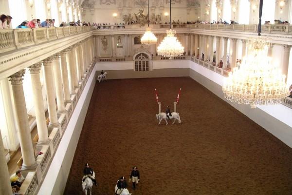 Entrenamientos de hípica en el Palacio Imperial de Hofburg (Viena, Austria)