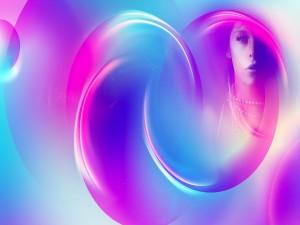 Postal: Anillos azules y rosados con la cara de una mujer al fondo