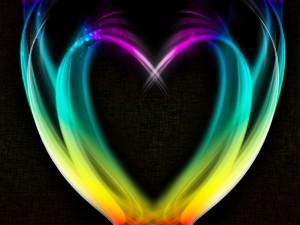 Corazón formado con luces de colores