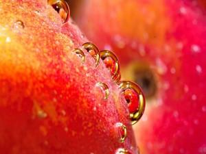 Postal: Gotas sobre la piel de una fruta