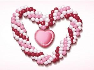 Postal: Corazón de perlas rosas y blancas