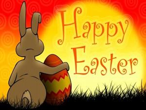 Conejo y huevo deseando una feliz Pascua