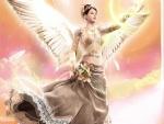Ángel celestial con un vestido de encaje
