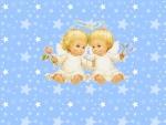 Dos angelitos abrazados con una rosa en la mano