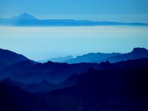 Postal: Isla de Gran Canaria (España) en azules