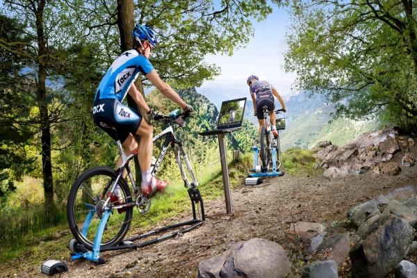 Bicicletas estáticas... en plena montaña