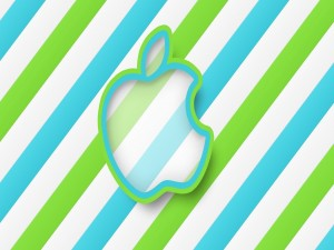 Logo de Apple, en colores azul y verde
