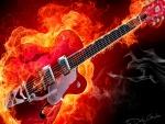Una guitarra eléctrica en llamas