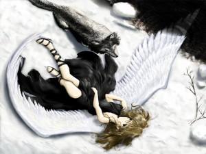 Ángel caído con un lobo