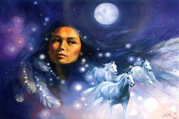 India americana soñando con caballos