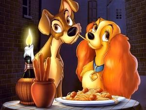 La dama y el vagabundo, cena romántica
