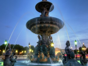 Postal: Fuente de los mares, en la Plaza de la Concordia, París