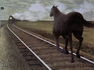 Postal: Horse and Train (1954), por Alex Colville