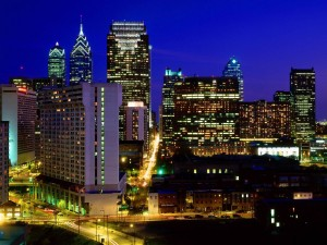 Postal: Rascacielos en el centro de Filadelfia, Pensilvania