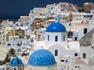 Postal: Tejados de Oia, Santorini, Grecia