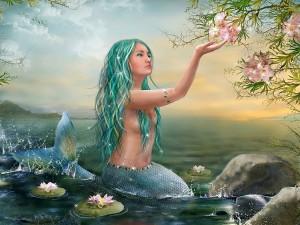 Sirena contemplando la belleza de una flor