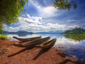 Postal: Canoas de madera a la orilla de un lago
