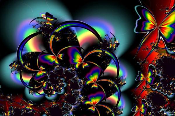 Mariposas de colores psicodélicos