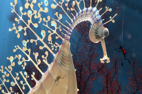Caballito de mar gigante junto a un buzo