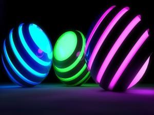Esferas con luz de colores