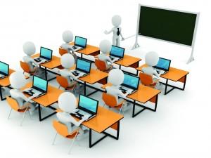 Un profesor y sus alumnos en clase