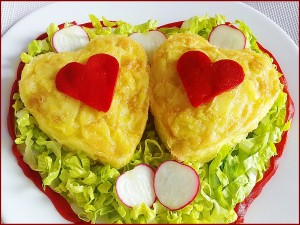 Postal: Dos corazones de tortilla española