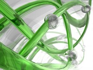 Diseño abstracto 3D en colores blanco y verde