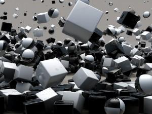 Postal: Cubos y esferas 3D en blanco y negro