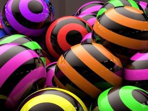 Postal: Bolas con círculos de colores