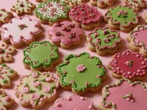 Postal: Flores de galleta