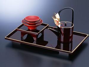 Postal: Bandeja de té moderna