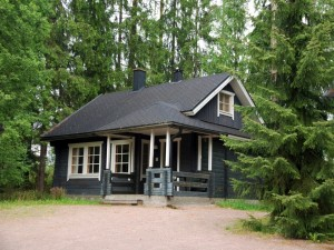 Casa de madera negra rodeada de pinos