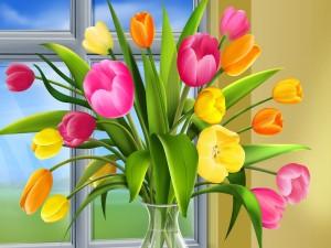 Jarrón con tulipanes coloridos