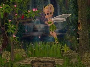 Postal: El hada de las flores en un bosque encantado