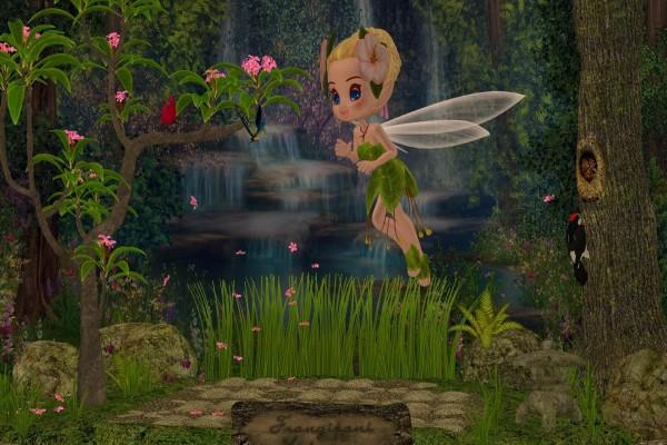 El hada de las flores en un bosque encantado