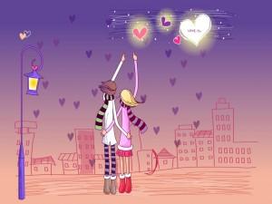 Postal: Una pareja enamorada bajo un cielo de corazones