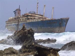 Postal: Restos del naufragio del American Star (SS America)