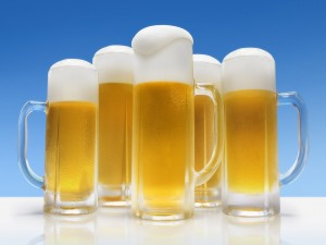 Postal: Jarras de cerveza fresquita