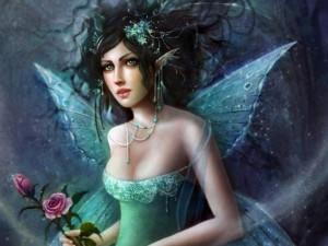 Postal: Hada con dos rosas