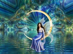 Hada sentada en la luna