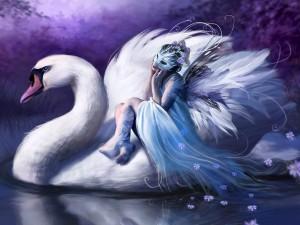 Hada montada en un cisne