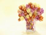 Jarrón con tulipanes de varios colores