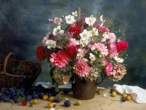Postal: Bonita composición floral