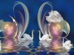 Composición digital con cisnes
