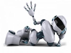 Robot tumbado y saludando