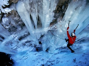Postal: Escalada en hielo