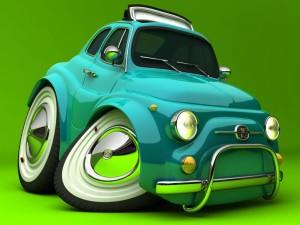Postal: Fiat color turquesa